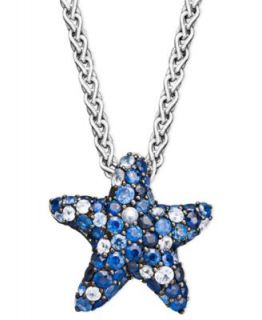 Diamond Necklace, 14k White Gold Black Diamond (1/5 ct. t.w.) and White Diamond Accent Starfish Pendant   Necklaces   Jewelry & Watches