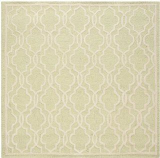 Safavieh Cambridge Collection CAM131B Handmade Wool Square Area Rug, 6 Feet, Light Green and Ivory