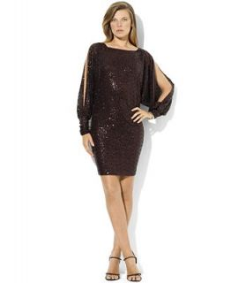 Lauren Ralph Lauren Dress, Split Sleeve Sequin Mesh   Dresses   Women