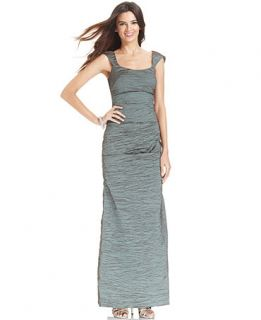 Alex Evenings Sleeveless Crinkle Cutout Gown   Dresses   Women