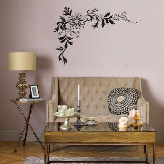 Myhome Butterfly Fluttering Around Vine, Large Black Art Wall Stickers for Living Room, for Bedroom   Wall Decor Stickers