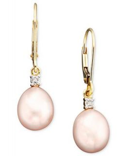 14k Gold Pink Cultured Freshwater Pearl & Diamond Accent Earrings   Earrings   Jewelry & Watches