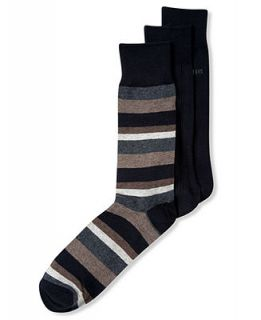 Perry Ellis Mens Socks, Pima Cotton Stripe Dress Crew 3 Pack   Underwear   Men