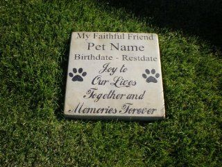 "Personalized Engraved Pet Memorial Step Stone 11"" Diameter 'My Faithful Friend'   Outdoor Decorative Stones"
