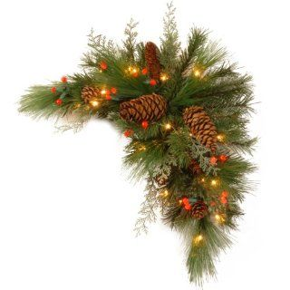 National Tree DC13 116 30CB 1 Decorative Collection White Pine Corner Swag with 63 Soft white and Red LED Battery Operated Lights, 30 Inch   Christmas Wreaths Garland Pre Lit With Batteries