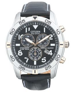 Citizen Mens Eco Drive Perpetual Calendar Chronograph Black Leather Strap Watch 44mm BL5476 00E   Watches   Jewelry & Watches