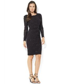 Lauren Ralph Lauren Petite Long Sleeve Sequined Lace Dress   Dresses   Women