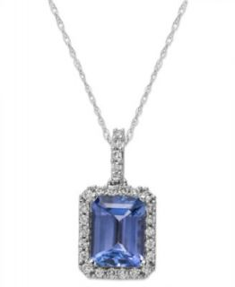 14k White Gold and Rose Gold Necklace, Tanzanite (1 3/4 ct. t.w.) and Diamond (1/3 ct. t.w.) Two Tone Oval Pendant   Necklaces   Jewelry & Watches