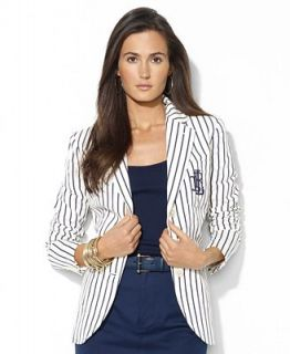 Lauren Ralph Lauren Petite Jacket, Striped Embroidered Linen   Jackets & Blazers   Women