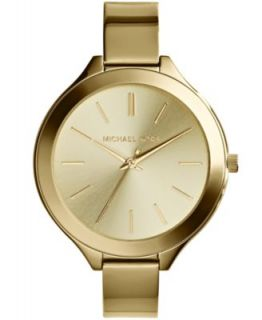 Michael Kors Womens Slim Runway Gold Tone Stainless Steel Bracelet Watch 42mm MK3222   Watches   Jewelry & Watches