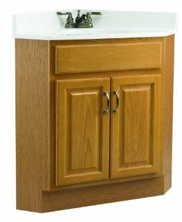 Design House 530527 24 Inch by 21 Inch Richland 2 Door Corner Ready To Assemble Vanity, Nutmeg Oak