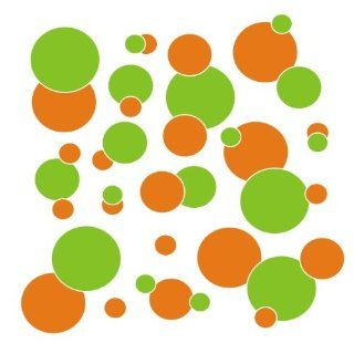 set of 106 Orange and Lime Green polka dots Vinyl wall lettering stickers quotes and sayings home art decor kit peel stick mural graphic appliques decal   Wall Banners