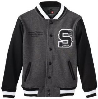 Southpole   Kids Boys 8 20 Baseball Fleece Jacket In Varsity Sports Style, Black, Small Fleece Outerwear Jackets Clothing