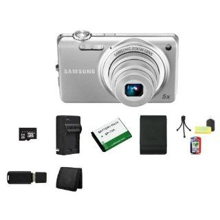 Samsung EC ST65 Digital Camera with 14 MP and 5x Optical Zoom (Silver) + 8GB Micro SD Memory + Extended Life Battery + Ac/Dc Rapid Charger + USB Card Reader + Memory Card Wallet + Samsung Deluxe Case + Accessory Saver Bundle  Point And Shoot Digital Came