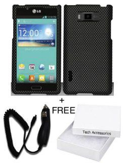 LG Optimus Showtime L86C Straight Talk / Net10 Classy Carbon Fiber Design Hard Cover Protector with Free Car Charger + Gift Box By Tech Accessories Cell Phones & Accessories
