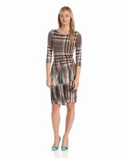 Anne Klein Women's Pleated Long Sleeve Jersey Sheath Dress, Peacock/Multi, 10
