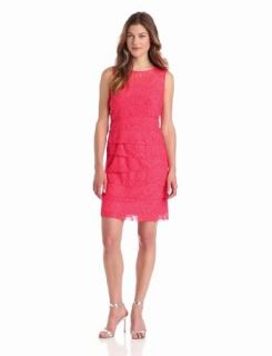 Jessica Howard Women's Sleeveless Shutter Pleat Dress, Coral, 6