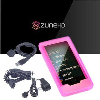 Microsoft Zune HD 16GB, 32GB & Microsoft Zune HD Accessories bundle containing Premium **PINK** Silicon Skin Case Cover + Microsoft Zune HD Car Charger + Microsoft Zune HD Wall Charger + Microsoft Zune HD Sync Cable + Live*Laugh*Love Silicone Wrist Ba