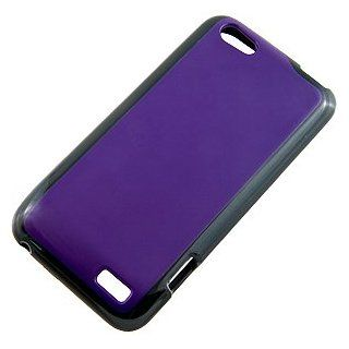 Hybrid TPU Skin Cover for HTC One V, Black/Purple Cell Phones & Accessories