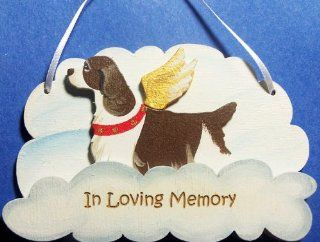 Liver English Springer Spaniel Memorial Cloud Wooden Handpainted 3 dimensional Dog Ornament, USA Made.   Decorative Hanging Ornaments