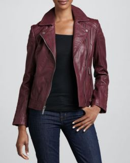 Womens Notched Collar Trapunto Leather Moto Jacket