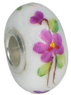 Fenton Art Glass Violets in the Snow Bead Charm Jewelry