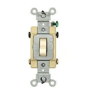 Leviton CS420 2T 20 Amp, 120/277 Volt, Toggle 4 Way AC Quiet Switch, Commercial Grade, Grounding, Light Almond   Wall Light Switches