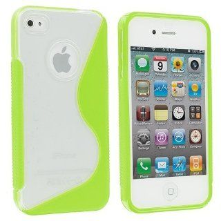 Electromaster S Line TPU Rubber Skin Case Cover for Apple iPhone 4/4S/4G   AT&T Verizon Sprint   Neon Green/Clear Cell Phones & Accessories