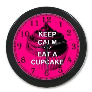 Keep Calm and Eat a Cupcake Hot Pink Print Black Wall Clock 10 Inch, Personalized Wall Clocks, Large Numbers