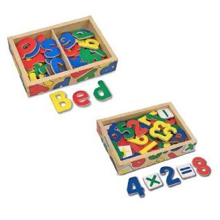 Melissa & Doug   2 Piece Magnetic Wooden Alphabet and Numbers Toys & Games