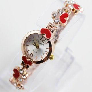 Red classtic diamond clover sexy gift rose golden girl's lady's women's wrist watch bracelet bangle Health & Personal Care