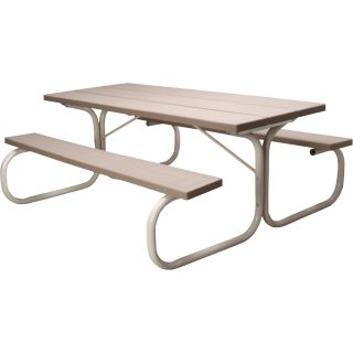 Leisure Time Commercial Injection-Molded Picnic Table with Steel Frame — 72in.L, Taupe, Model# 25066  Picnic Tables