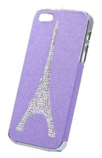 HJX Purple iphone 4/4S Luxury Cool Natural Silk Stripe Hard Back Case With Rhinestone Eiffel Tower Pattern Protector Cover For Apple iPhone 4 4G 4S Cell Phones & Accessories