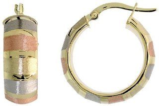 "10k, Rose White Yellow Tri Color Gold Snap Post Italian Hoop Earrings, Vertical Stripe Pattern 7/8"" (22mm) Jewelry"