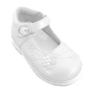 SIZE 8   Baby Girls White Formal Dress Shoes With Pearl Beads (Infant Size 1 to 8) Clothing