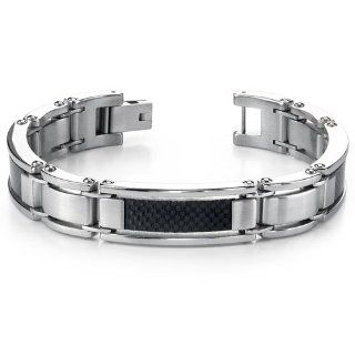 Bold & Beautiful Mens Stainless Steel Carbon Bracelet Link Bracelets Jewelry
