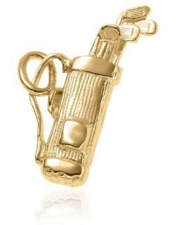 14k Yellow Gold Golf Bag and Clubs Charm Jewelry