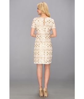 Muse Scoop Neck Sequins Sheath Dress Ivory/Gold