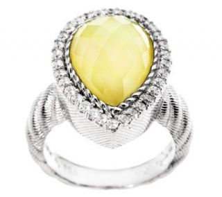 Judith Ripka Sterling and Gemstone Doublet Pear Shaped Ring —