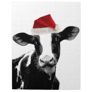 Santa Cow  Holstein Dairy Christmas Cow Jigsaw Puzzles