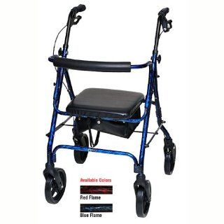 "Rollator Blue Flame Deluxe Aluminum Rollator Durable lightweight aluminum frame. Easy squeeze locking loop brake system. 8"" PU front and rear wheels. Removable curved padded backrest for added comfort. Folds easily for transport and storage. Basket in"