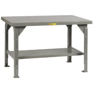 "Little Giant WW 3036 ADJ Heavy Duty Welded Steel Workbench, Gray, 10000 lbs Load Capacity, 28""   38"" Adjustable Height x 36"" Width x 30"" Depth"