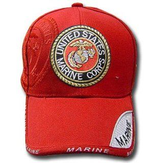 UNITED STATES MARINE CORPS SEAL SHIELD RED CAP HAT ADJ  Sports Fan Baseball Caps  Sports & Outdoors