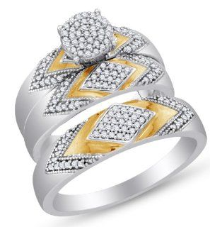 "10K White and Yellow Two 2 Tone Gold Channel Set Round Brilliant Cut Diamond Mens and Ladies Couple His & Hers Trio 3 Three Ring Bridal Matching Engagement Ring Wedding Band Set   Round Shape Center Setting   (2/5 cttw.)   SEE ""PRODUCT DESCRIPTION"