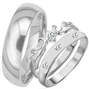 His & Hers 3 Pieces, STAINLESS STEEL Engagement Wedding Ring Set, AVAILABLE SIZES men's 7, 8, 9, 10, 11, 12; women's set 5, 6, 7, 8, 9, 10. CONTACT US BY EMAIL THROUGH  WITH SIZES AFTER PURCHASE Jewelry