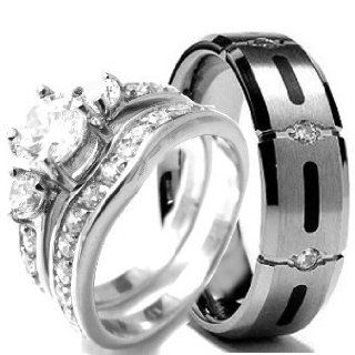 Wedding rings set His and Hers TITANIUM & STAINLESS STEEL Engagement Bridal Rings set (Size Men's 10 Women's 10) Jewelry