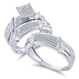 Size   9   10k White Gold Diamond Mens and Ladies Couple His & Hers Trio 3 Three Ring Bridal Matching Engagement Wedding Ring Band Set Micro Pave Set Princess Shape Solitaire Style Center Setting with Side Stones Round Cut Diamond Ring (0.36 cttw, H I