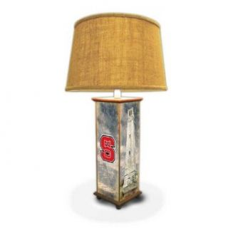 "NC State Logo and Belltower Handcrafted Wood Collegiate Table Lamp   27"" Tall   Made in the USA   Floor Lamps"
