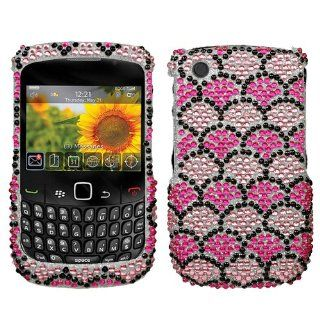 BLACKBERRY CURVE SPRINT T MOBILE VERIZON 8520 8530 AND 9300 3G HARD PLASTIC CRYSTAL DIAMOND SPARKLE RHINESTONE BLING DESIGN HOT PINK AND SILVER WHITE WAVELET RIPPLES SNAP ON CASE COVER