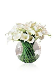 Calla Lily in Glass Vase   Artificial Mixed Flower Arrangements